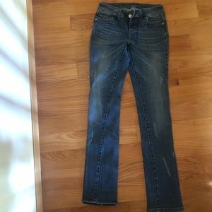 Straight Leg Distressed Dark Wash Jeans